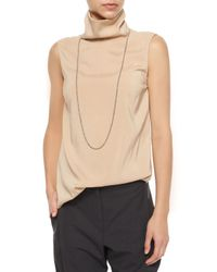 Brunello Cucinelli - Natural Sleeveless Monili Turtleneck Top - Lyst
