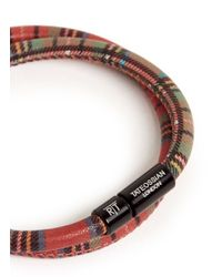 Tateossian | Red 'edinburgh' Plaid Leather Double Wrap Bracelet for Men | Lyst