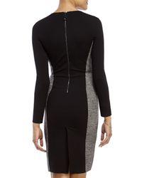Les Copains - Black Herringbone Ponte Knit Sheath Dress - Lyst