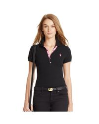 Polo Ralph Lauren | Black Skinny Cotton Mesh Polo Shirt | Lyst