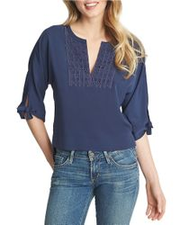 1.STATE | Blue Three-Quarter Sleeve Tunic | Lyst