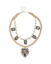River Island | Metallic Copper and Hematite Encrusted Short Statement Necklace | Lyst