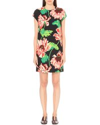 Stella McCartney | Black Floral-print Stretch-crepe Dress | Lyst
