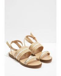 Forever 21 - Natural Beaded Flatform Sandals - Lyst