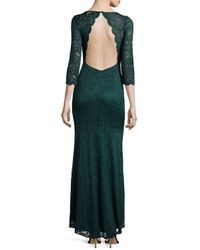 Laundry by Shelli Segal - Green Lace Open-back 3/4-sleeve Gown - Lyst