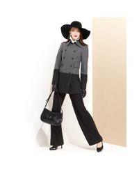 Nine West | Gray Woolblend Colorblock Pea Coat | Lyst