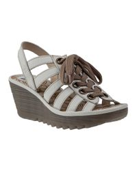 Fly London - Yito Wedge Sandal Off White Leather - Lyst