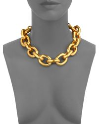Kenneth Jay Lane - Metallic Satin-finish Medium Oval Link Necklace - Lyst