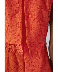 TOPSHOP - Orange Petite Crop Overlay Lace Dress - Lyst
