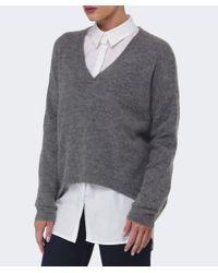 Gestuz - Gray Gaby Wool V-neck Jumper - Lyst