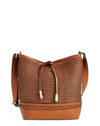 Ivanka Trump - Brown 'briarcliff' Woven Leather Bucket Bag - Lyst