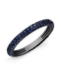 Anne Sisteron | 14kt Oxidized White Gold Blue Sapphire Ring | Lyst