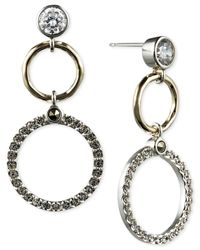 Judith Jack | Metallic 14k Gold-plated Marcasite And Cubic Zirconia Circle Double Drop Earrings | Lyst