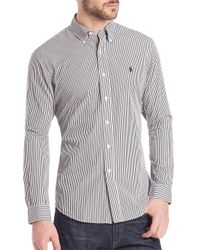 Polo Ralph Lauren - Gray Bengal-striped Poplin Sportshirt for Men - Lyst