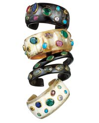 Ashley Pittman | Black Kifari Dark Horn Cuff With Labradorite | Lyst
