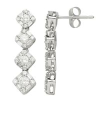 Lord & Taylor | 14kt. White Gold And Diamond Drop Earrings | Lyst