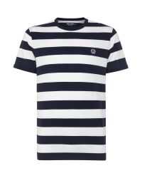 Stussy | Blue Stripe Crew Neck Regular Fit T-shirt for Men | Lyst