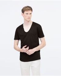 Zara | Black V-neck T-shirt for Men | Lyst