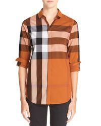 Burberry Brit Purple Large Check Cotton Shirt