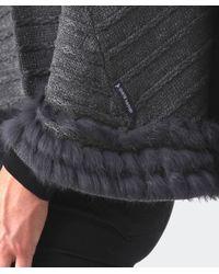 Armani Jeans - Gray Fur Trim Poncho - Lyst
