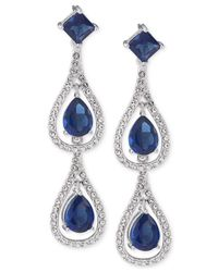 Carolee | Blue Silver-tone Teardrop Double Drop Earrings | Lyst