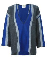 Forte Forte | Blue Colour Block V-neck Sweater | Lyst