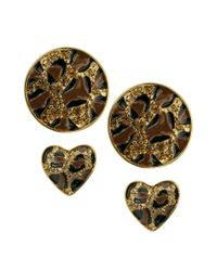 Guess - Multicolor Earrings Set Heart and Circle Leopard Stud Earrings - Lyst