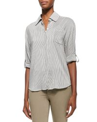 Alice + Olivia - Natural Richley Striped Tab-sleeve Blouse - Lyst