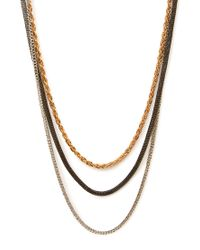 Forever 21 - Metallic Layered Rhinestone Statement Necklace - Lyst