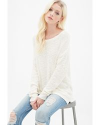 Forever 21 - Natural Textured Knit Sweater You've Been Added To The Waitlist - Lyst