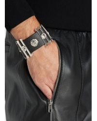 Versus | Black Lion-embellished Leather Cuff for Men | Lyst