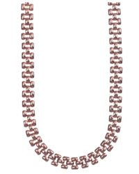 Anne Klein | Pink Rose Gold Crystal Tubular Necklace | Lyst