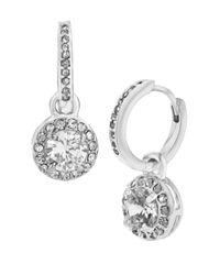 Betsey Johnson   Metallic Crystal Heart Drop Earrings   Lyst