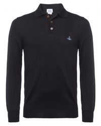 Vivienne Westwood - Black Long Sleeve Knitted Polo Shirt for Men - Lyst
