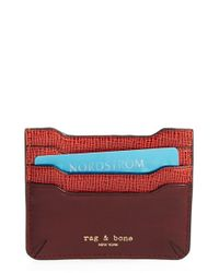 Rag & Bone | Purple 'crosby' Saffiano Leather Card Case | Lyst
