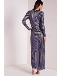Missguided | Blue Premium Sequin Stripe Wrap Maxi Dress Navy | Lyst