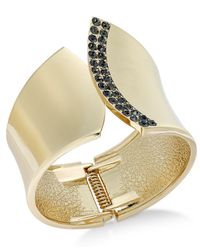 INC International Concepts | Metallic Gold-tone Black Diamond Pavé Curve Cuff Bracelet | Lyst