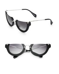 Miu Miu - Black Semi-rim 52mm Round Sunglasses - Lyst