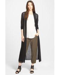 Eileen Fisher - Black Wool Mesh Long Cardigan - Lyst
