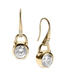 Michael Kors | Metallic Gold Tone Clear Pad Lock Drop Earrings | Lyst