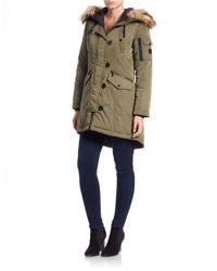 MICHAEL Michael Kors | Green Faux Fur-trimmed Hooded Parka | Lyst