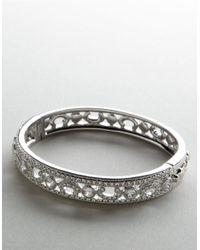 Nadri | Metallic Rhodium Plated Crystal And Cubic Zirconia Bangle | Lyst
