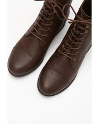 Forever 21 | Brown Lace-up Faux Leather Boots | Lyst