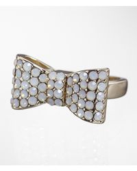 Express - Metallic Pave Bow Ring - Lyst