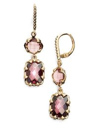 Judith Jack - Pink Crystal Drop Earrings - Lyst