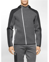 Calvin Klein - Gray White Label Performance Colorblock Asymmetrical Zip Hoodie for Men - Lyst