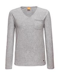 BOSS Orange - Gray Long-sleeved Shirt 'talbott' With V-neck for Men - Lyst