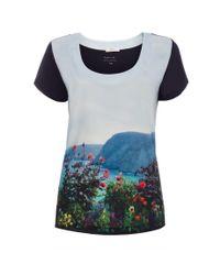 Paul Smith - Blue Women'S 'English Coastline' Print Navy Jersey T-Shirt - Lyst
