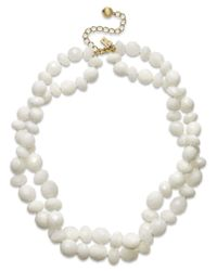 kate spade new york | White Gold-Tone Twisted Bead Two-Row Necklace | Lyst