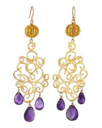 Devon Leigh | Purple 18K Gold Plate Amethyst Drop Earrings | Lyst